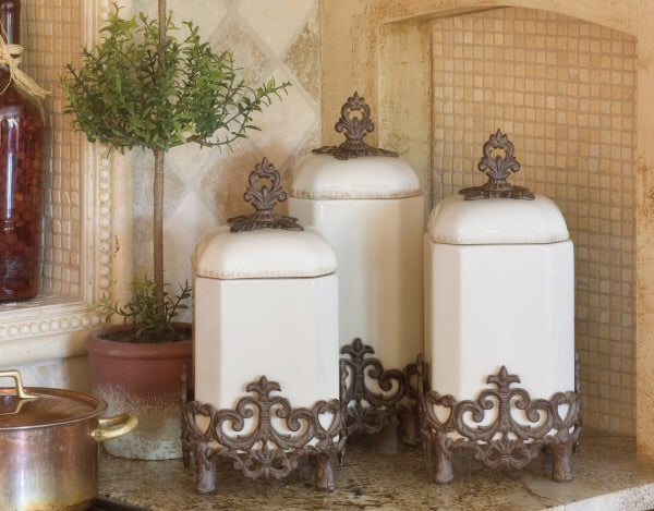 "The GG Collection Gracious 16""H Provencial Canister - Avenue of Oaks Decor"