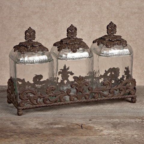 The GG Collection Gracious Goods Provencial Glass Canister Set - Avenue of Oaks Decor