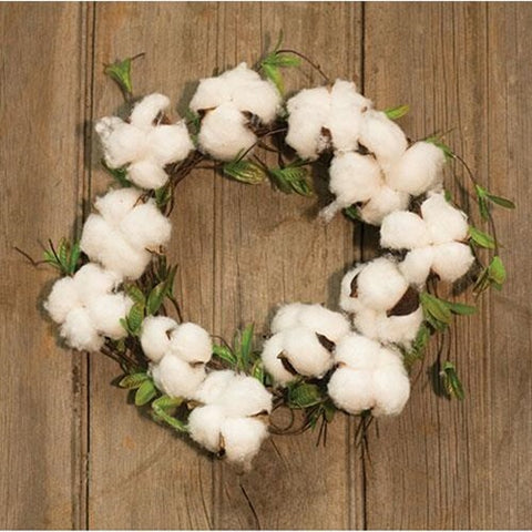 FARMHOUSE COTTON AND WILLOW LEAVES WREATH - Avenue of Oaks Decor