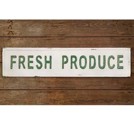 FRESH PRODUCE EMBOSSED METAL WALL SIGN - Avenue of Oaks Decor