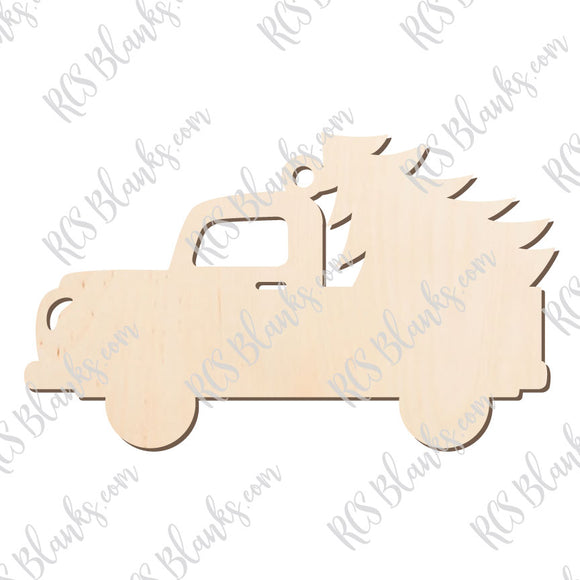 Red Truck & Tree Ornament Wood Cut-Out