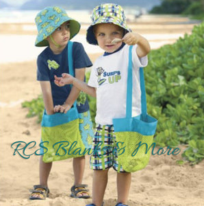 Blue & Green Mesh Beach Bag for Kids