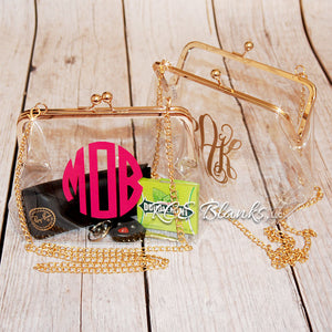 Clear PVC Kiss Lock Cross Body Purse