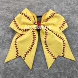 Softball Faux Leather Bow