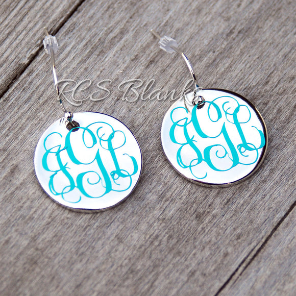 Silver Disc Hanging Earrings