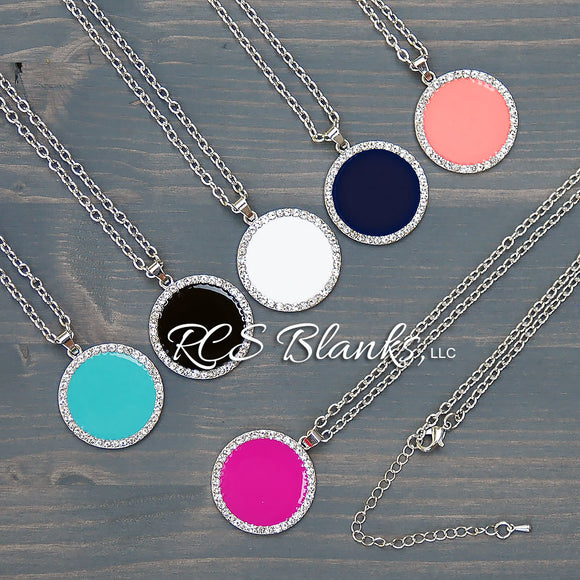 Rhinestone Enamel Disc Necklace