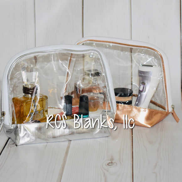 Crystal Clear Metallic Cosmetic Bag