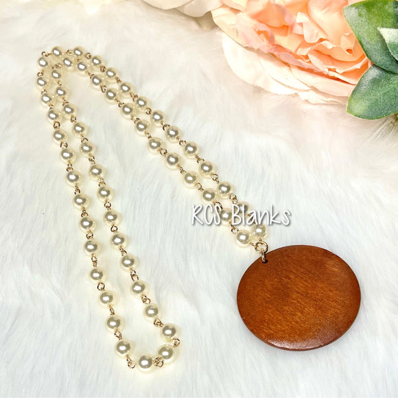 Sabrina Wood Disc Pearl Necklace