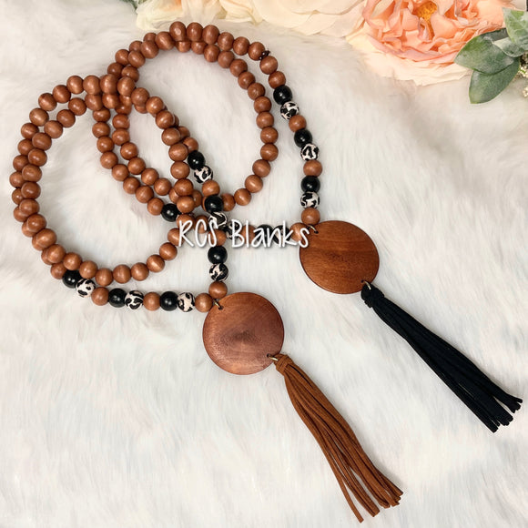 Leopard Tassel Necklace w/ Round Wood Disc
