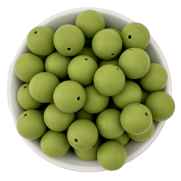 Avocado 20mm Silicone Beads - 5 pk.