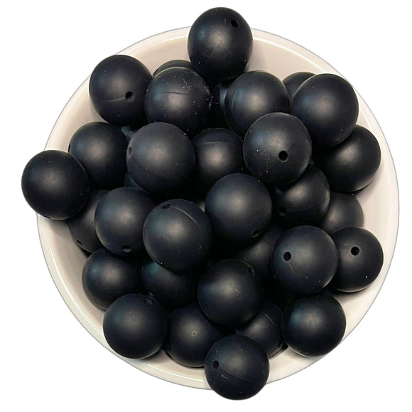 Black 20mm Silicone Beads - 5 pk.