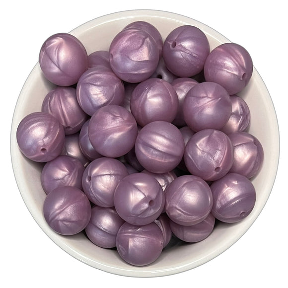 Purple Pearl 20mm Silicone Beads - 5 pk.