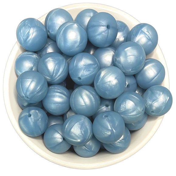Blue Pearl 20mm Silicone Beads - 5 pk.