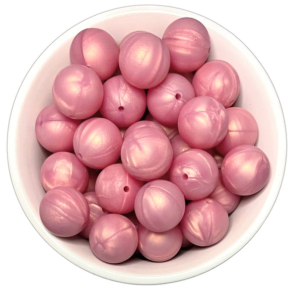 Rose Gold Pearl 20mm Silicone Beads - 5 pk.