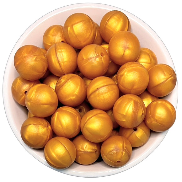 Old Gold Pearl 20mm Silicone Beads - 5 pk.