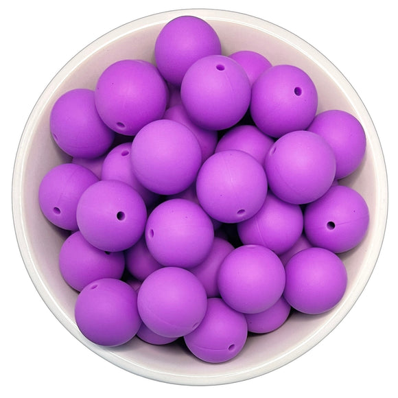 Bright Purple 20mm Silicone Beads - 5 pk.