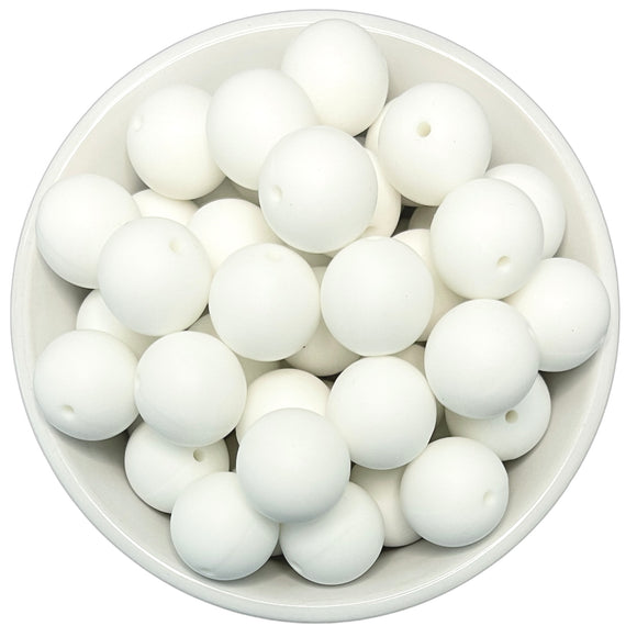 White 20mm Silicone Beads - 5 pk.