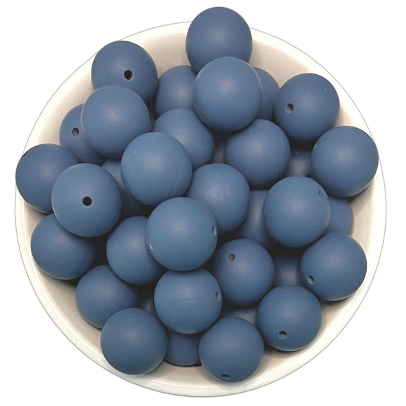 Cobalt Slate 20mm Silicone Beads - 5 pk.
