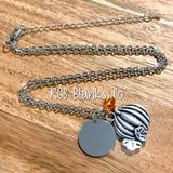 Pumpkin & Silver Disc Pendant Necklace