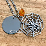 Spider Web & Silver Disc Pendant Necklace