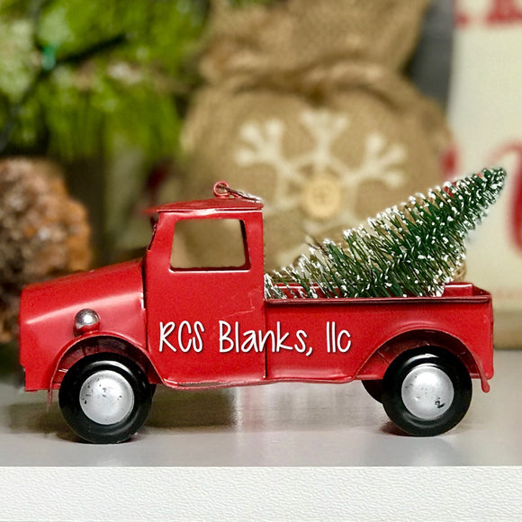 Vintage Red Truck w/ Tree Christmas Ornament