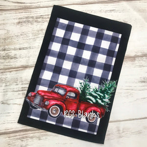 Farmhouse Plaid & Red Truck Christmas Garden Flag