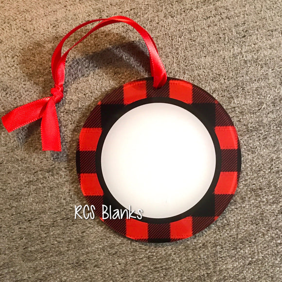 Buffalo Plaid Round Acrylic Christmas Ornament