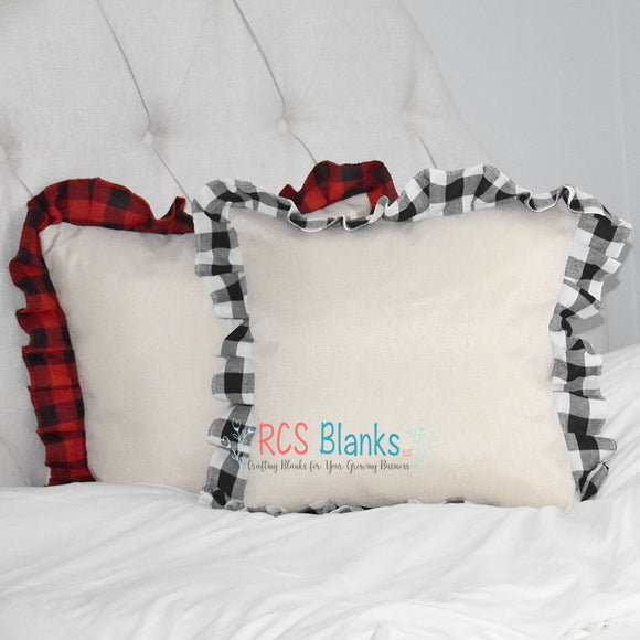 Cabin Classic Burlap & Buffalo Plaid Throw Pillow Cover