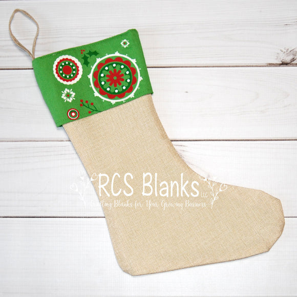 Vintage Burlap & Cotton Stocking w/ Seersucker Lining