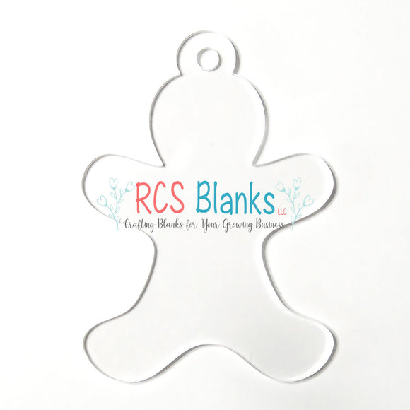 Clear Gingerbread Man Acrylic Christmas Ornament