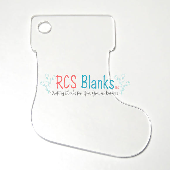 Clear Stocking Acrylic Christmas Ornament