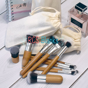 Wood Handle Cosmetic Brush Set w/ Bag