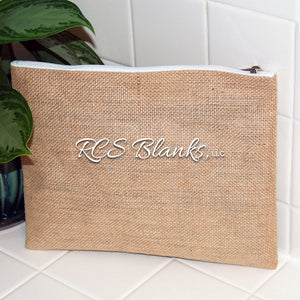 Burlap Carry All Cosmetic Bag