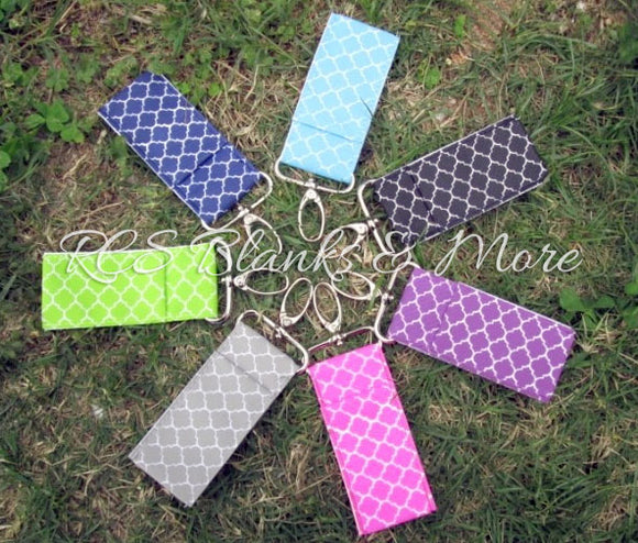 Quatrefoil Chapstick Holder Key Fobs
