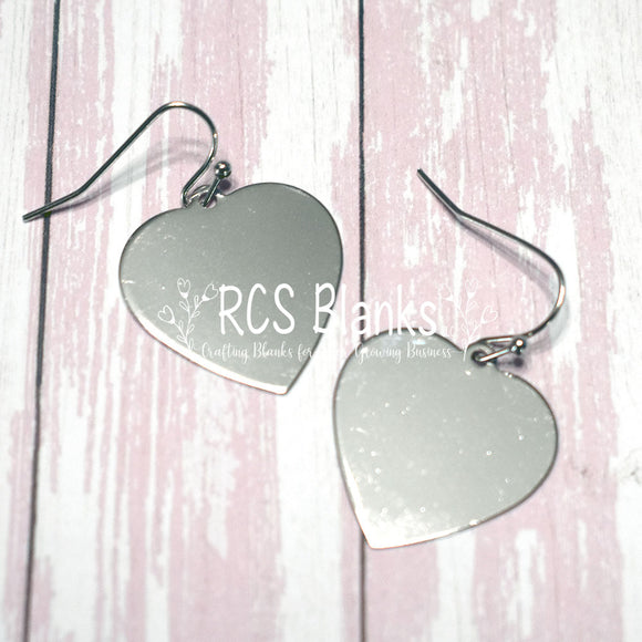 Silver Heart Hanging Earrings