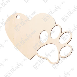 Paw & Heart Ornament Wood Cut-Out