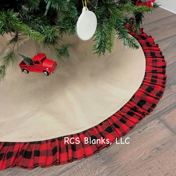Cabin Classic Red Plaid & Burlap Tree Skirt