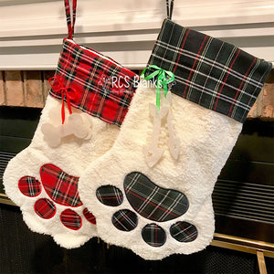 Paw Print Fleece Christmas Stocking
