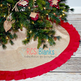 Red Ruffle Burlap Tree Skirt