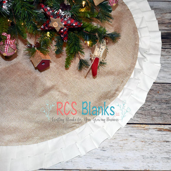 White Ruffle Burlap Tree Skirt