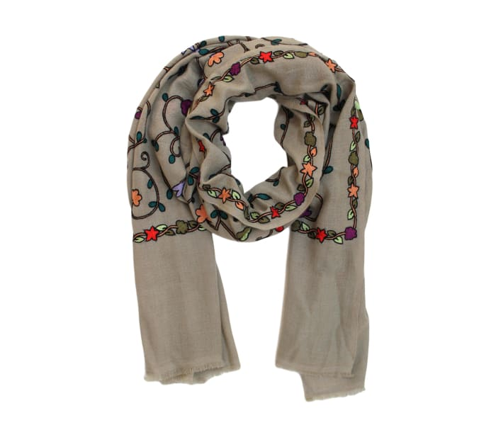 Embroidered Mulberry Cashmere Scarf - Scarves