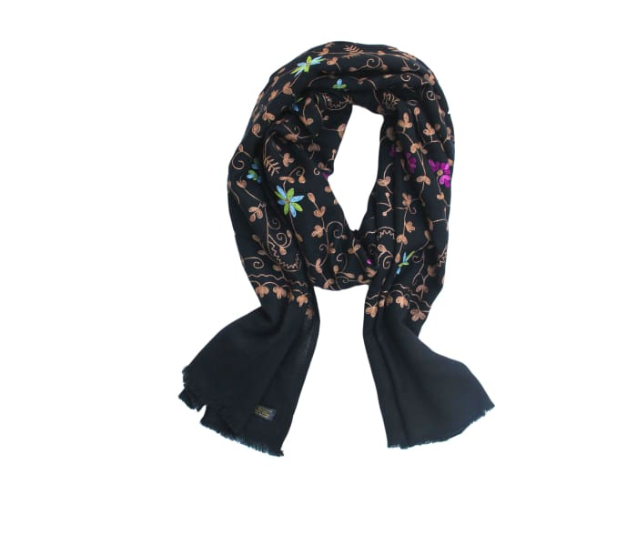 Embroidered Olivia Cashmere Scarf - Scarves