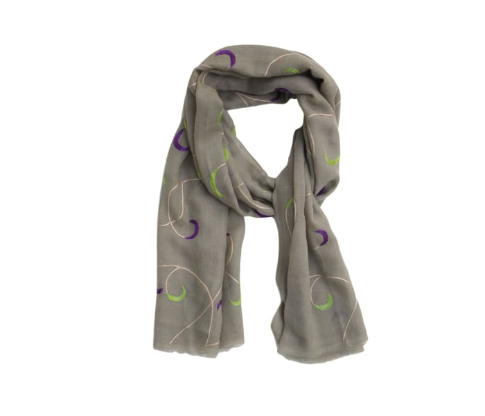 Embroidered Twilight Cashmere Scarf - Scarves