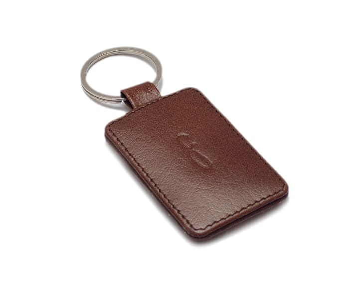 Leather Tag Key Chain - Brown - KeyChains