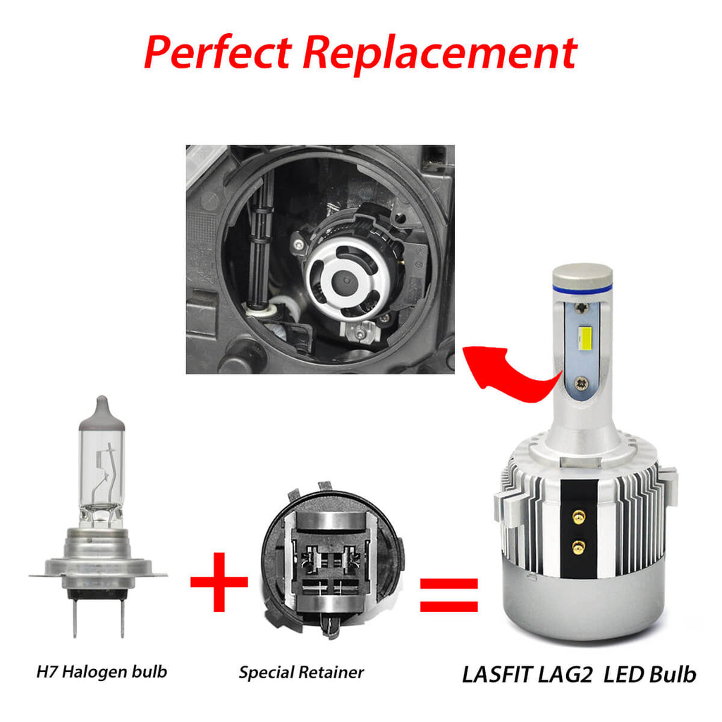 lasfit LED headlight bulb H7 with retainer holder adapter volkswagen passat golf