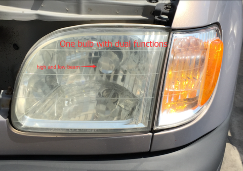 Dual beam headlights, only one bulb per headlight housing, it creates low beam and high beam.