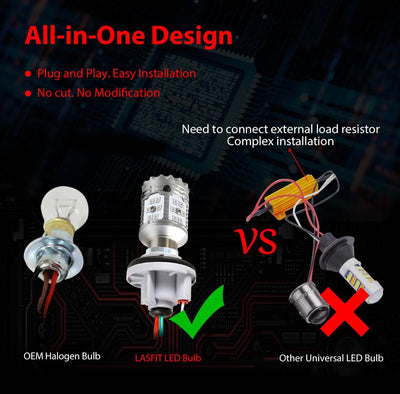 1157 2057 2357 CANBUS Error Free LED Turn Signal Light Bulb | Brilliant Red