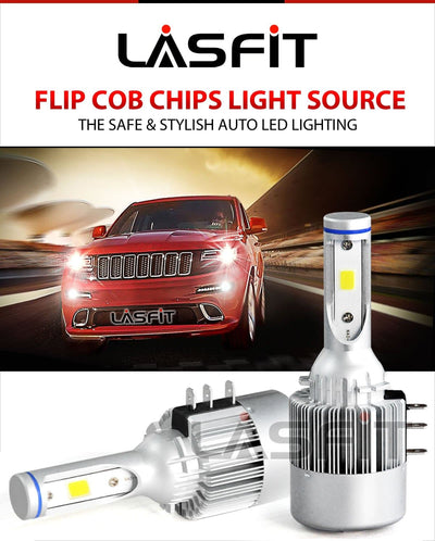 LASFIT LC6H15 LED Headlight Bulb Conversion Kit High Beam & DRL Lamps Directly 60W/set 7600LM/set 6000K White
