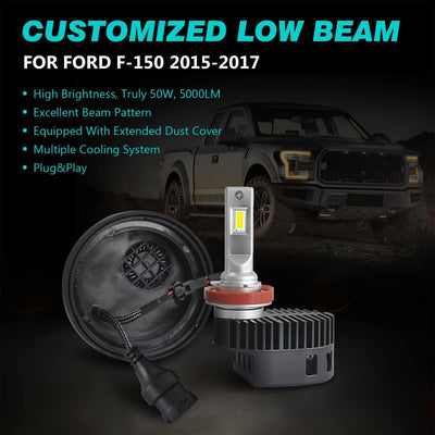 2015 2016 2017 Ford F-150 Custom Fit LED Bulbs Conversion Kits H11 9005 w/Dust Cover