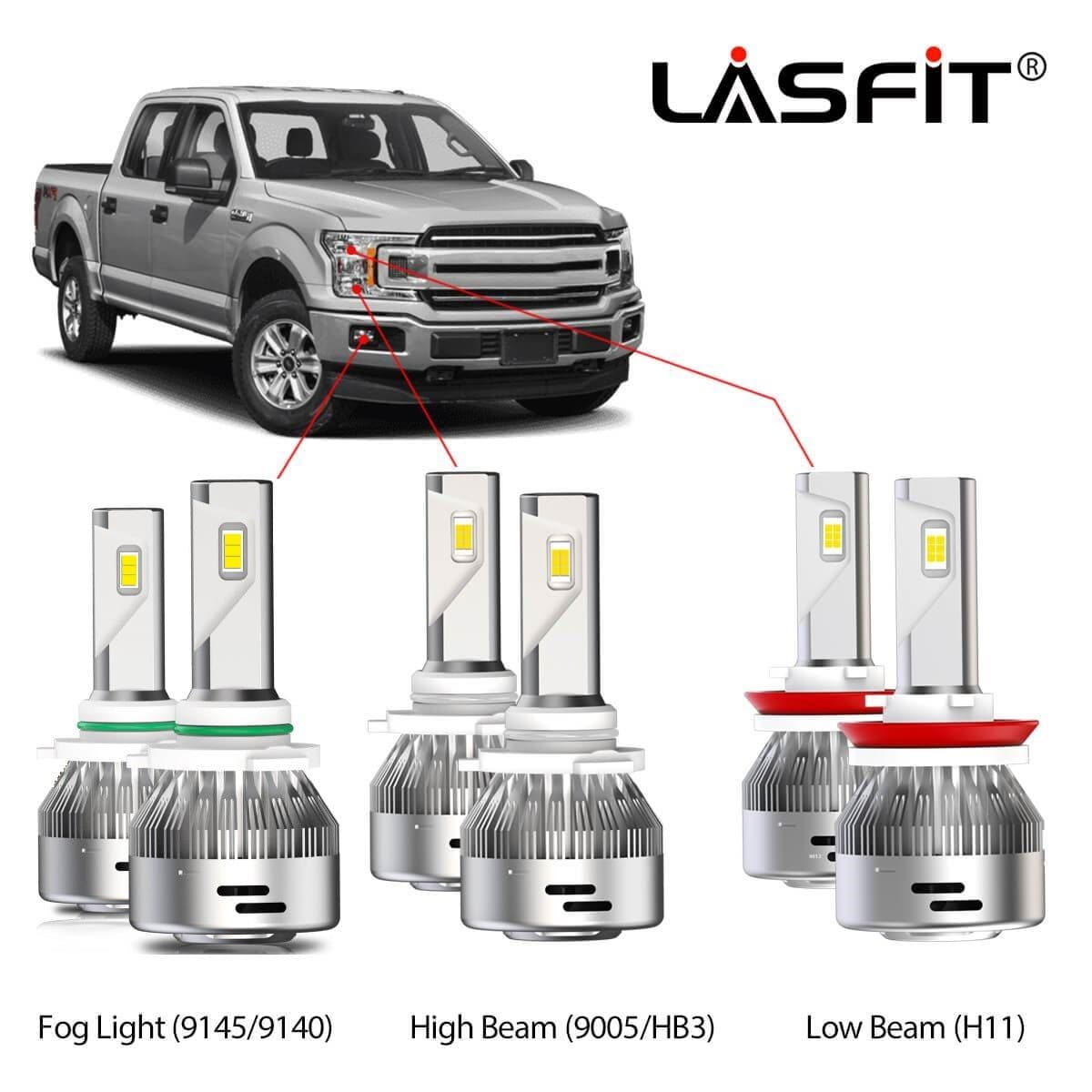 LASFIT 9005 LED Headlight High Beam for F-150 2015-2020 Super Bright 6000K White